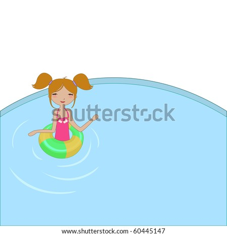 Vector Illustration of funny Kiddie style design summer background with the little girl in the water - stock vector