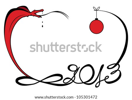 vector illustration of funny snake as symbol New Year 2013 - stock vector