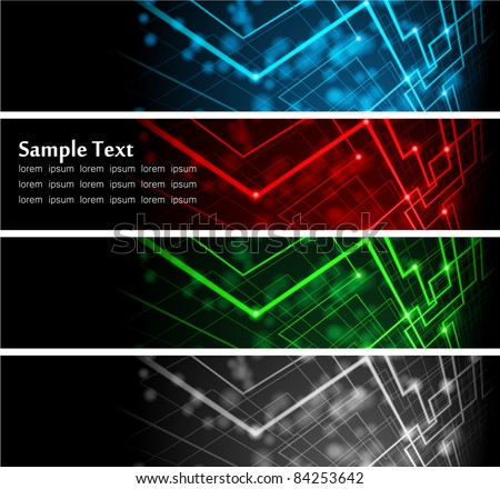 Vector illustration of futuristic color abstract glowing banners - stock vector