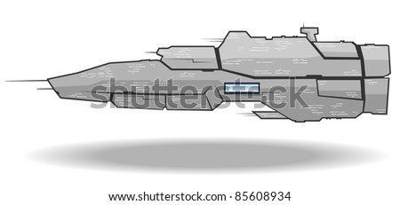 vector illustration of futuristic spaceship.vector 3 - stock vector