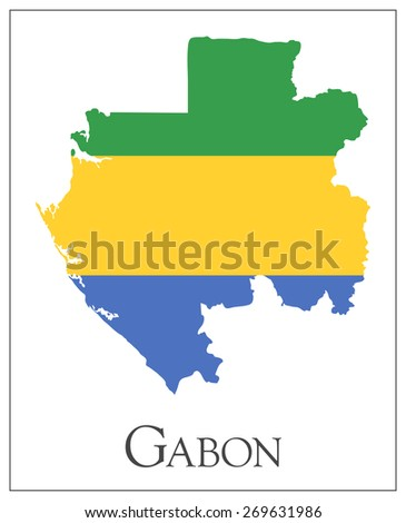 Vector illustration of Gabon flag map. Used transparency.