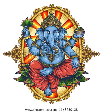 Vector Illustration Ganesha Elephant Symbol Gods Stock Vector
