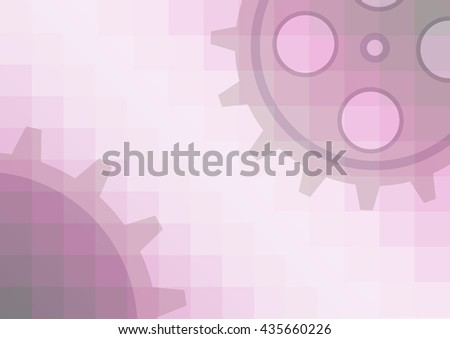 Vector illustration of gear wheel abstract background. Pink transparent banner with clockwork. EPS10. - stock vector