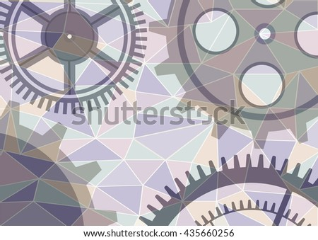 Vector illustration of gear wheel abstract background. Transparent banner with clockwork. Poligonal design.  EPS10. - stock vector