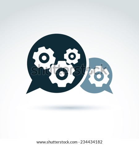 Vector illustration of gears - enterprise system theme, organization strategy concept. Cog-wheels and moving parts placed in a speech bubble �¢?? chat on business process and management.  - stock vector