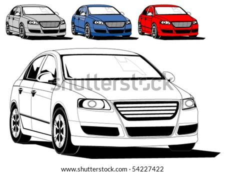 Vector illustration of generic car isolated on white, different colors - stock vector