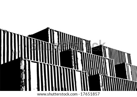 vector illustration of generic freight containers stacked in the port of hamburg - stock vector