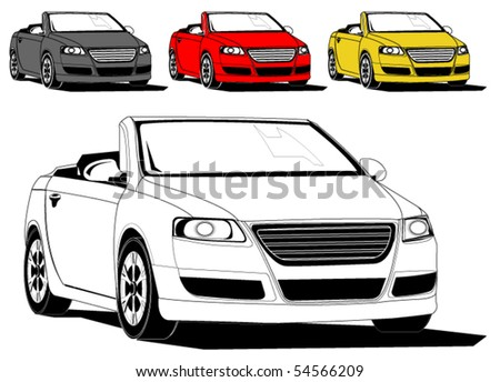 Vector illustration of generic sports car isolated on white, different colors - original design - stock vector