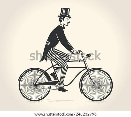 Vector illustration of gentleman ride a vintage bicycle over white background - stock vector