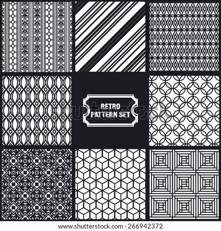 Vector Illustration of Geometric Seamless Pattern for Design, Website, Background, Banner. Element for Wallpaper or Textile. Black and White Texture Template