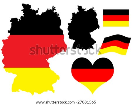 vector illustration of Germany map with flag and heart in national colors