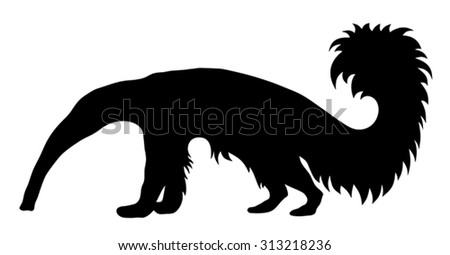 Vector illustration of giant anteater silhouette - stock vector