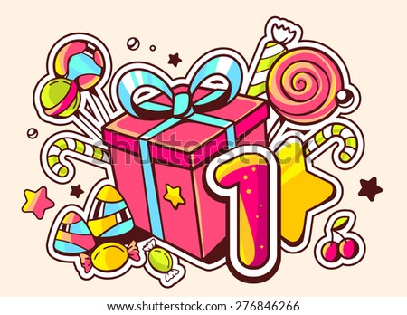 Vector illustration of gift box and confection with number one on light background with star and dot. Hand drawn line art design for web, site, advertising, banner, poster, board and print.   - stock vector