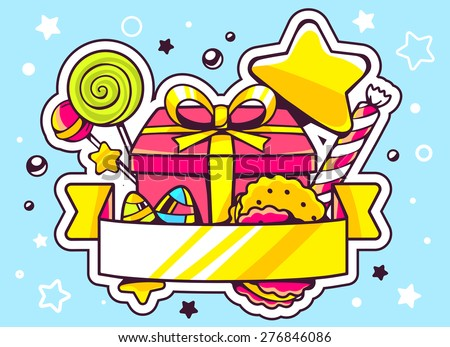 Vector illustration of gift box and sweets with ribbon on blue background with star and dot. Hand draw line art design for web, site, advertising, banner, poster, board and print.   - stock vector
