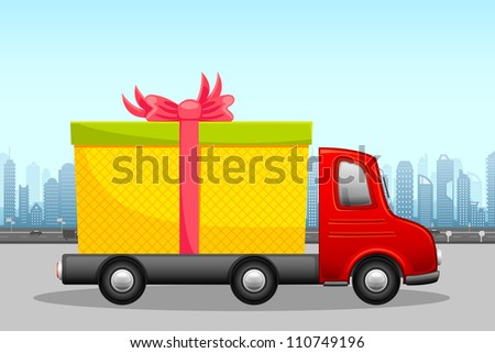 vector illustration of gift box in carrier showing free shipping - stock vector