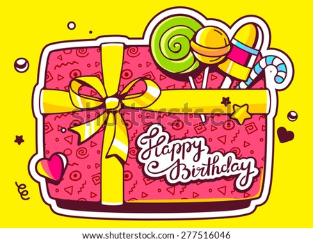 Vector illustration of gift box top view and confectionery with text happy birthday on yellow background. Hand draw line art design for web, site, advertising, banner, poster, board and print.   - stock vector