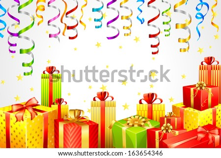 vector illustration of gift box with party steamer - stock vector