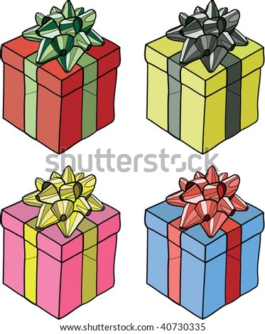 Vector illustration of gift wrapped presents in four color combinations