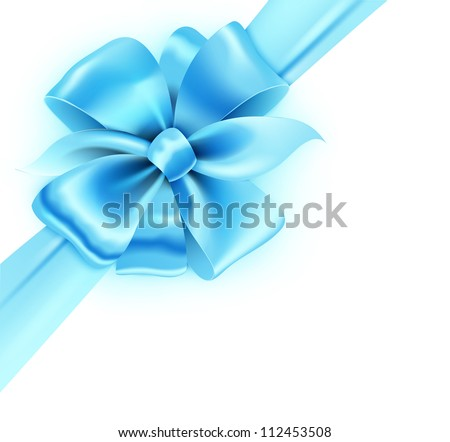 Vector illustration of gift wrapped white paper with a blue ribbon and classic bow