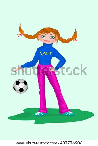 Vector illustration of girl in sportswear with soccer ball. - stock vector