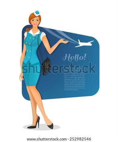Vector illustration of Girl in stewardess uniform - stock vector