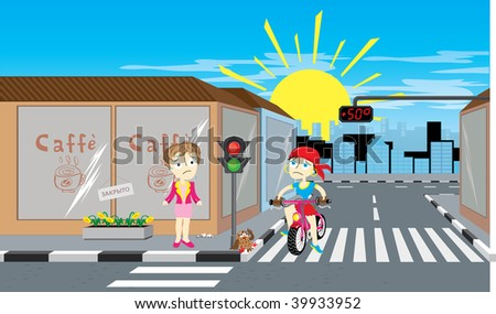 vector illustration of girl on bicycle