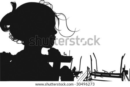Vector illustration of girl silhouette near harbor.