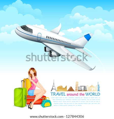 vector illustration of girl sitting with baggage with airplane flying - stock vector