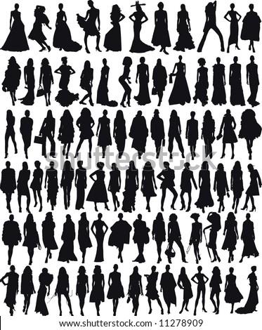 Vector illustration of Glamor female models - stock vector