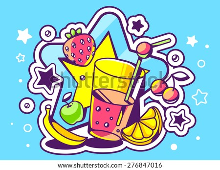 Vector illustration of glass of juice with fruits on blue background with big star. Hand draw line art design for web, site, advertising, banner, poster, board and print.   - stock vector