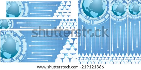 Vector illustration of global connection theme banner set. - stock vector