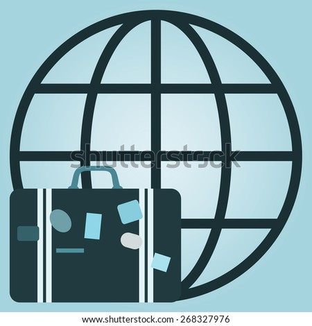 Vector illustration of global travel concept with  suitcase and globe - stock vector