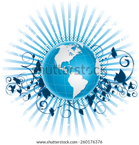 Vector illustration of globe grunge background. Globe and background are on separate layers. - stock vector