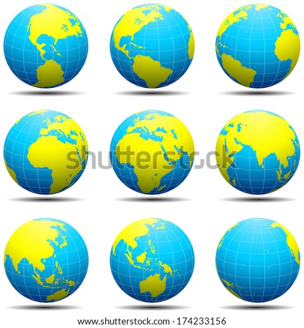 Vector illustration of globes isolated on white.