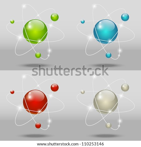 Vector illustration of glossy atomic model - stock vector