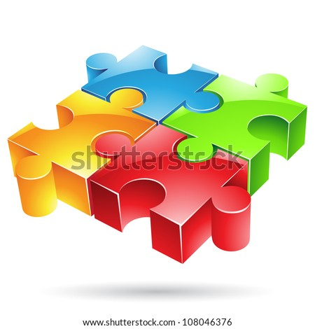 Vector illustration of glossy colorful jigsaw puzzle - stock vector