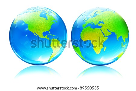 Vector illustration of Glossy Earth Map Globes different angles - stock vector