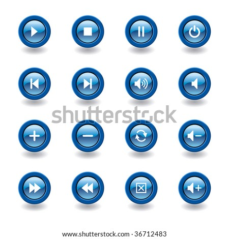 vector illustration of glossy media player icons and symbols - stock vector