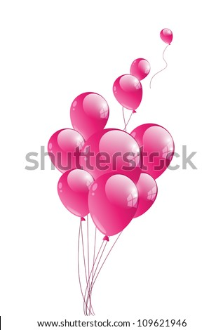 Vector illustration of glossy pink balloon - stock vector