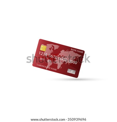Vector illustration of  glossy red credit card.