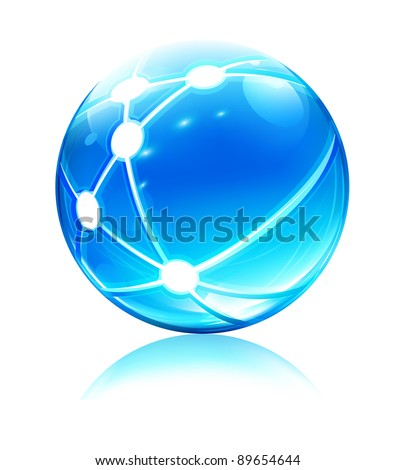 Vector illustration of glossy sleek and shiny network sphere icon - stock vector