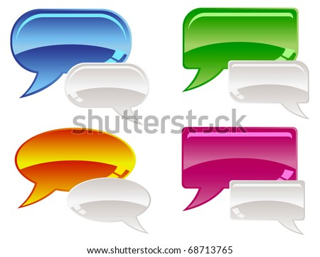 Vector Illustration of glossy speech bubbles, isolated on white with space for copy. - stock vector