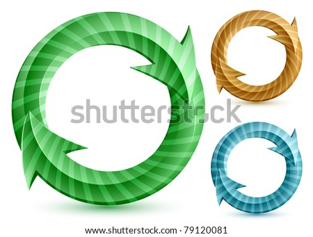 Vector illustration of glossy stripped circular arrows