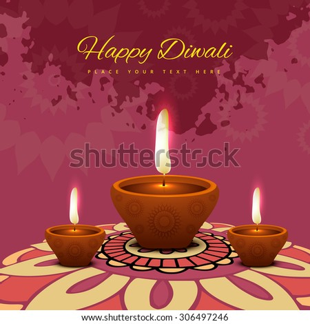 Vector Illustration of glowing decorative diwali colorful background  - stock vector