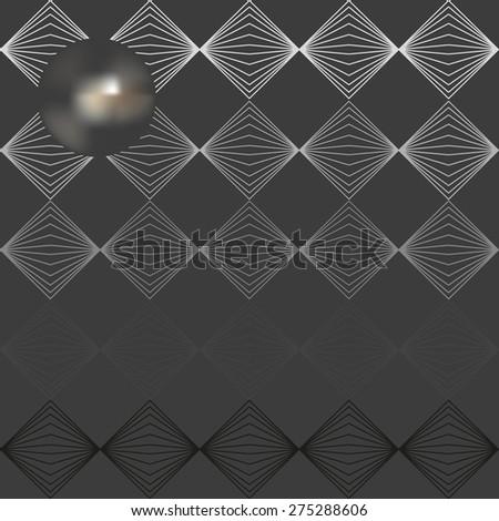 Vector illustration of glowing iron sphere on dark metallic geometric background  - stock vector
