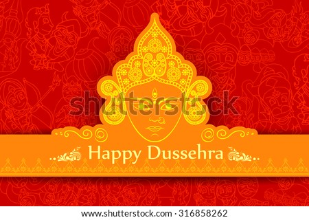 vector illustration of goddess Durga for Happy Dussehra - stock vector