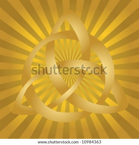 ... of gold celtic knot on golden burst background. - stock vector