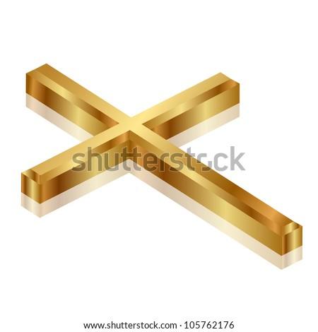 Vector illustration of gold cross - stock vector