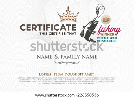 Vector illustration of gold detailed certificate fishing winner. - stock vector