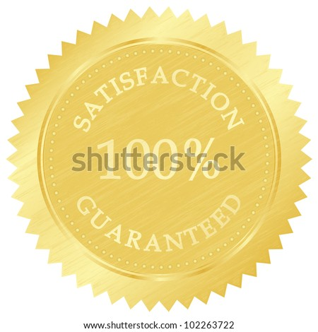 Vector illustration of gold guarantee stamp - stock vector